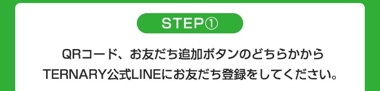 STEP1 QRコード、お友だち追加ボタンのどちらかからTERNARY公式LINEにお友だち登録してください