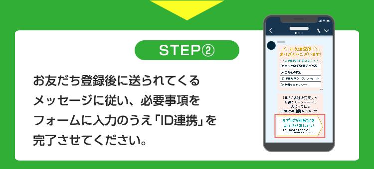STEP2 お友だち登録に送られてくるメッセージに従い、必要事項をフォームに入力のうえ「ID連携」を完了させてください